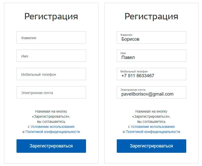 Окно регистрации на портале Госуслуг